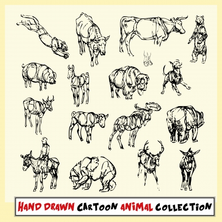 Hand drawn cartoon animal collection in black on light yellow background Vector