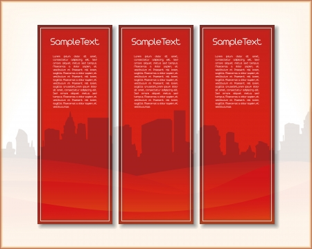 Set of three vertical banners with hills and a city in red with place for Your custom text Illustration