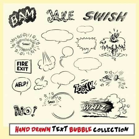 Hand drawn text bubble and action cloud collection in black on light yellow background