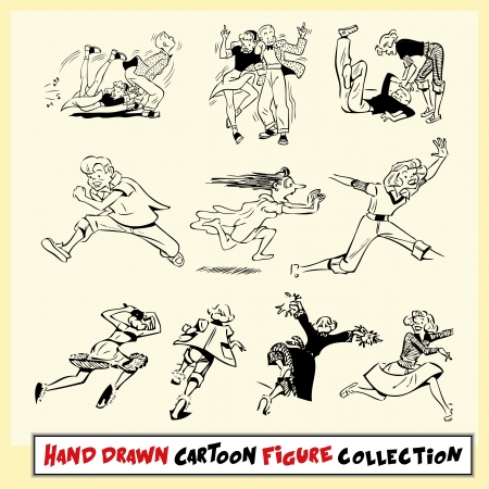 Hand drawn cartoon figure collection in black on light yellow background Vector
