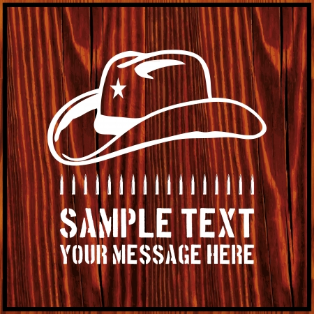 Cowboy hat with a star and an ammo belt on wooden background with text