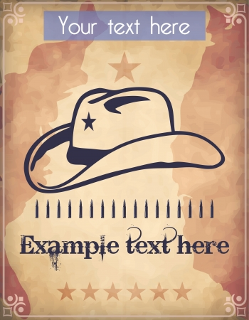 cowboy silhouette: Western style poster with a cowboy hat, a star, an ammo belt and place for Your custom text