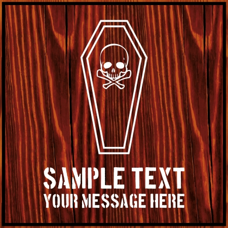 A coffin with a human skull and crossed bones with text on wooden background Vector