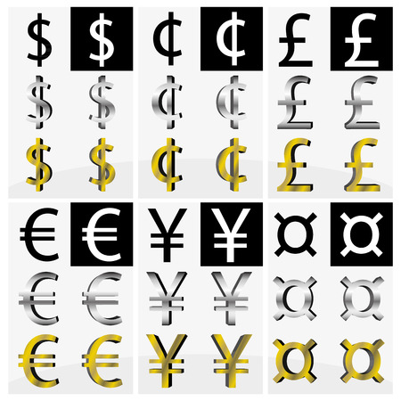 Collection of different currency symbols in black and white, silver and gold color