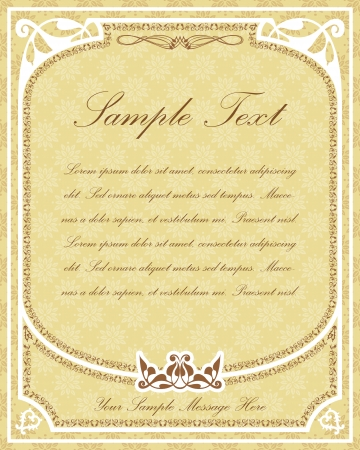 Old parchment design for certificates, invitations, menus etc  with ornamental frame and decor elements and place for Your custom text Illustration
