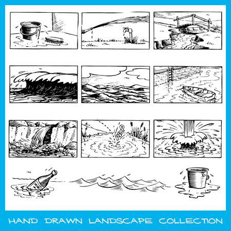 Hand drawn scenes and elements related to water Stock Vector - 22487429