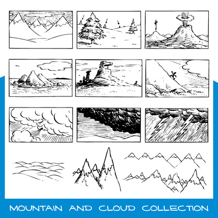 Hand drawn, unique scenes and elements with clouds and mountains Illustration