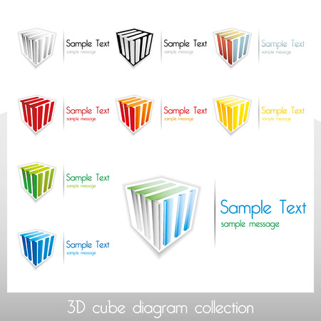 3D vector cubes with colorful diagram elements and place for custom text, also usable as standalone vector marks Illustration