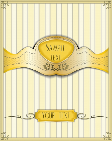 Elegant template with a golden ribbon on yellow striped wallpaper background for menus, certificates, posters, packages etc  Vector