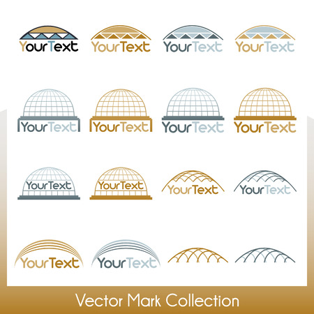 Vector mark collection related to construction, cupolas and Jewish kippah Vector