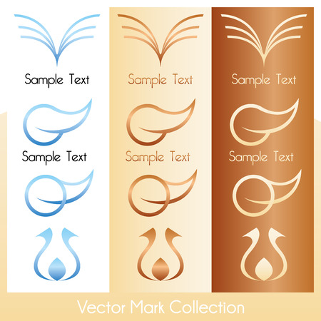 circular silhouette: Vector mark collection with soft, feminine symbols