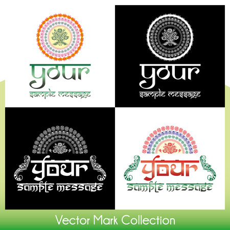 Eastern style round ornamental vector marks with place for Your custom text Stock Vector - 22487440