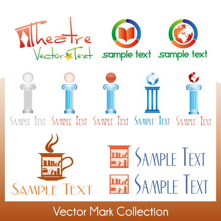 Vector symbols related to art, theater, culture and library Stock Vector - 22487460