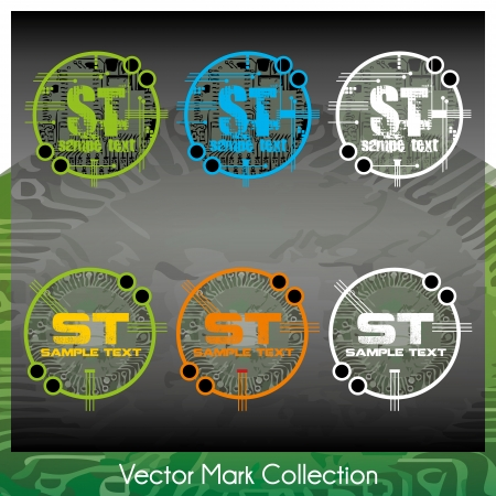 Vector mark collection with circuit chip main board elements serving as the symbols background Stock Vector - 22487465