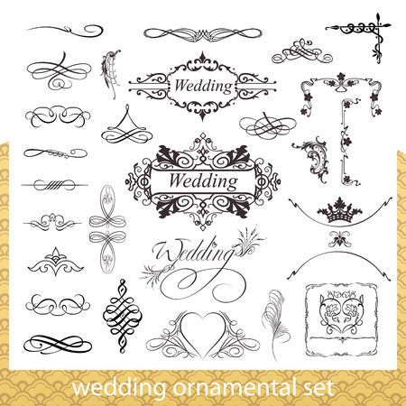 Wedding ornamental set with hearts, corner and border elements isolated on white background Vector