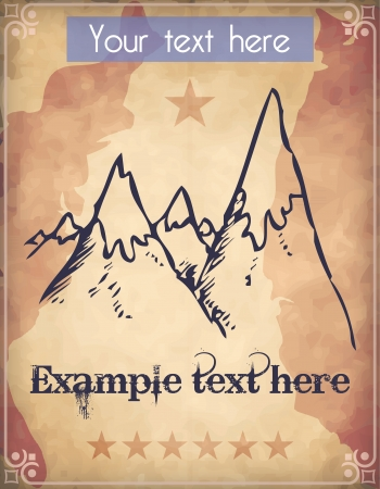 Western style poster with huge mountains with snow caps Vector