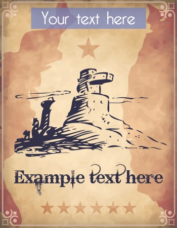 eroded: Western style poster with eroded desert mountains