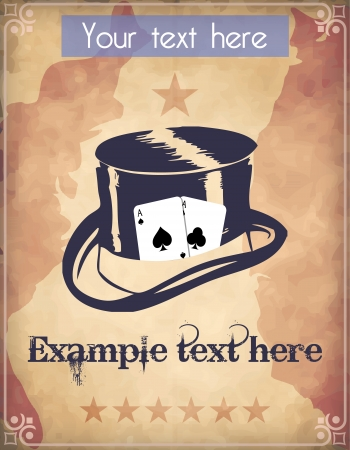 Western style poster with a cylinder hat with poker cards Vector