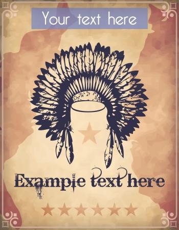 head-dress: Zachodni styl plakat z Indian War Bonnet stroik