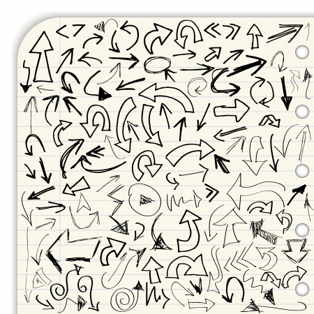 flecha derecha: Dibujado a mano vector colección de flecha aislado en papel rayado