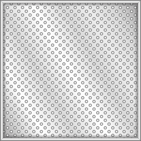 meshed: Perforated vector steel plate with shiny metal frame Illustration