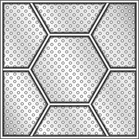 meshed: Perforated vector steel plate with hexagon elements and a shiny metal frame Illustration