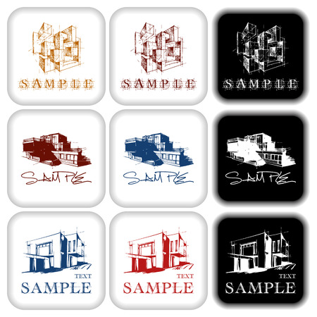 Vector mark collection related to architecture and construction Illustration