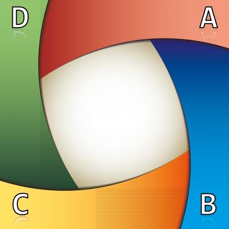 cuatro elementos: Plantilla de presentación de colores formada por cuatro elementos superpuestos y un área central