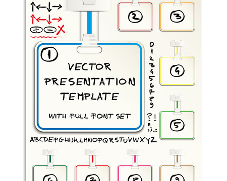 Business presentation template with different panels, hand drawn symbols and elements and custom font set Stock Vector - 22487681