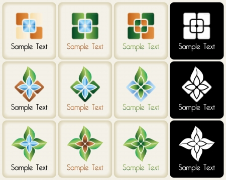 Nature and flora related vector mark collection