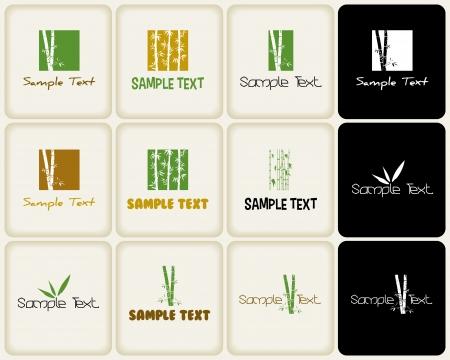 Vector segni ans simboli legati alla natura e bambù Vettoriali