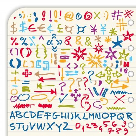 Verzameling van kleurrijke hand getekende tekens, symbolen, cijfers en speciale lettertypen die op lichte achtergrond Vector Illustratie