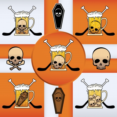 Vector mark collection related to hockey, beer and skulls Vector