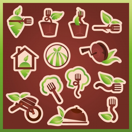 Vector mark collection related to ecology, nature, food and restaurants Vector