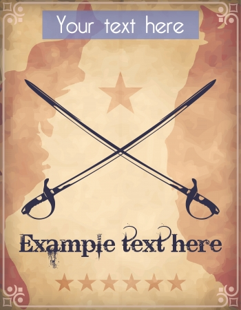 Western style poster with two crossed swords Vector