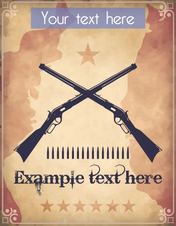 Western style poster with two crossed repeater rifles Vector