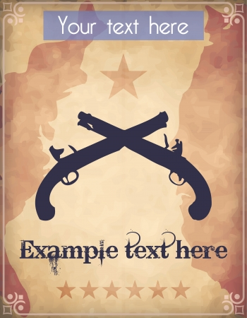 Western style poster with two crossed muzzle loader pistols Vector