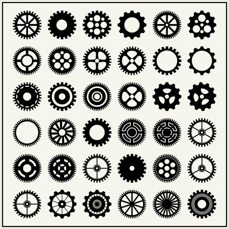 sprocket: Collection of 36 gear wheels isolated on light background