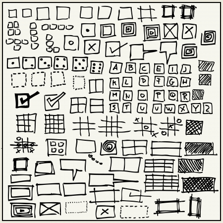 dashed line: Hand drawn rectangles and squares isolated on light background