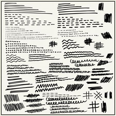 Líneas dibujadas a mano y golpes aislados en fondo claro Foto de archivo - 22487797