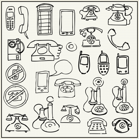 cell phone booth: Hand drawn telephone set