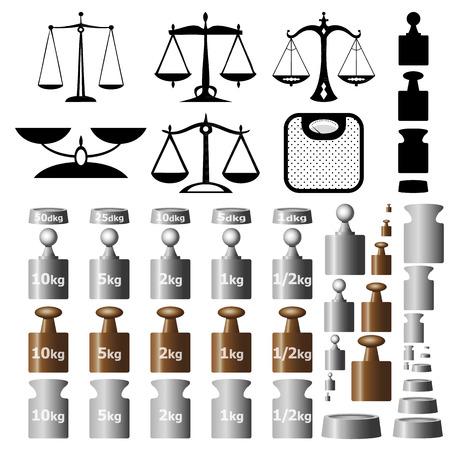 balanza en equilibrio: Balanzas y pesas aislados sobre fondo blanco Vectores