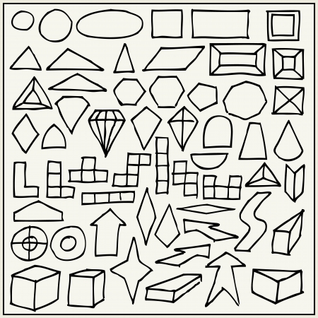 Hand drawn geometric shapes Vector