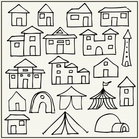 igloo: Hand drawn houses, tents and towers