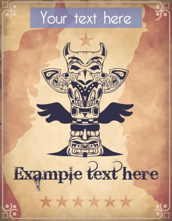 Western poster with totem pole Vector