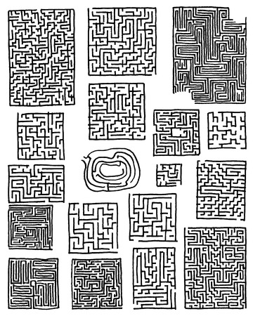 Collection of hand drawn mazes isolated on white background