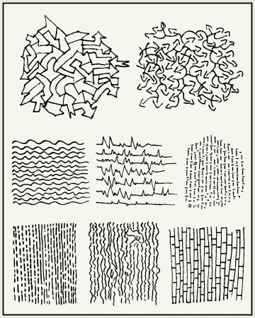 morse code: Hand drawn lines, textures and patterns