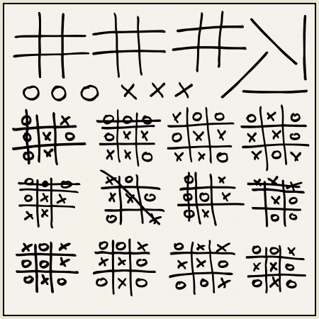pedagogical: Hand drawn tic-tac-toe elements