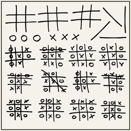 xs: Hand drawn tic-tac-toe elements