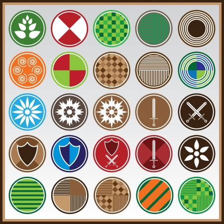 Colorful shields with different symbols